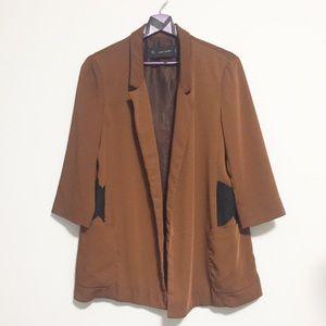 Zara Basic 3/4 Sleeves Blazer With Lace Detail M